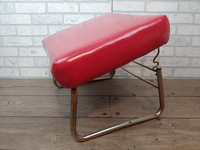 Mid Century Modern Red Vinyl/Pleather Adjustable Ottomoan by RedsRustyRelics