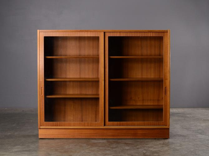Mid Century Teak Bookcase with Glass Doors Hundevad by MadsenModern
