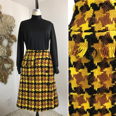 1960s skirt yellow skirt plaid skirt Neiman Marcus skirt wool skirt 28 waist mod skirt a line skirt wrap skirt winter skirt with pocket by melsvanity