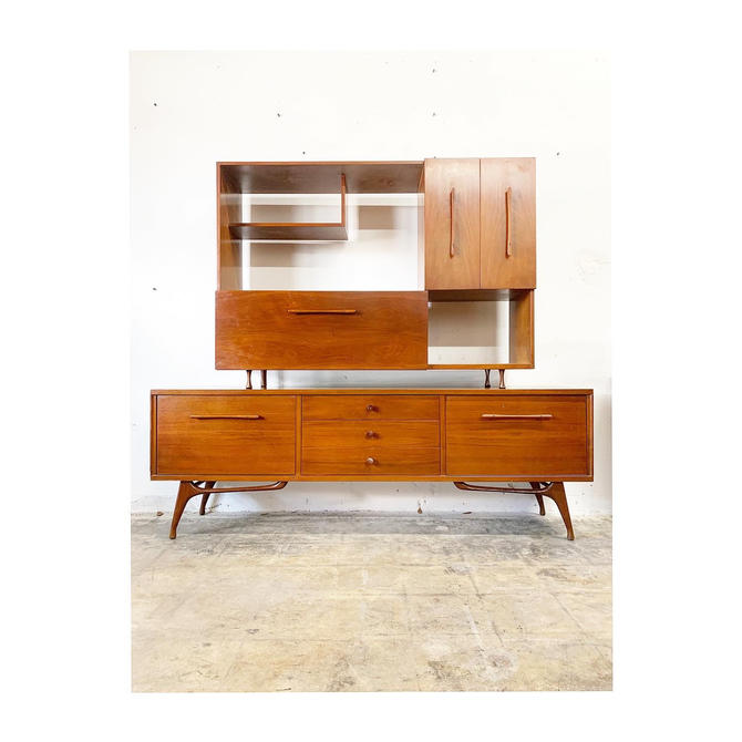 Mid Century Modern Credenza Sideboard and Hutch or Bar by FlipAtik