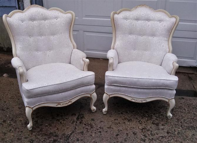 CHAIR, Louis XVI Upholstered Chair, Floral Print, French Provincial, Shabby Chic (Pair of 2) by 3GirlsAntiques