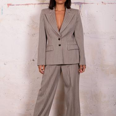 Vintage ESCADA Virgin Wool and Silk Blend Structured Striped Suit Blazer Trousers sz 2-4 Minimal Y2K by backroomclothing