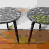Mid Century Modern Pair of Abalone Shell Side End Tables