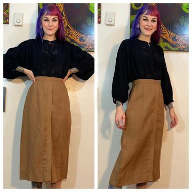 Vintage 1940'a Tan Linen Pencil Skirt by SurrealistVintage