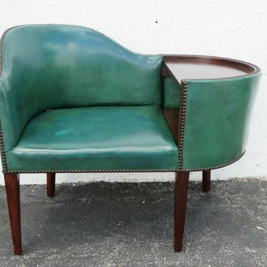 Mid Century Modern Telephone Table Gossip Bench with Side Chair and Shelf 2319