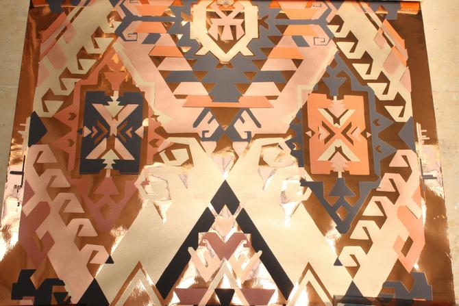 Vintage Metallic Wallpaper Art Deco Mylar Foil Geometric Wall Covering Copper Gold Abstract Designer Bob Mitchell by 330ModernAntique