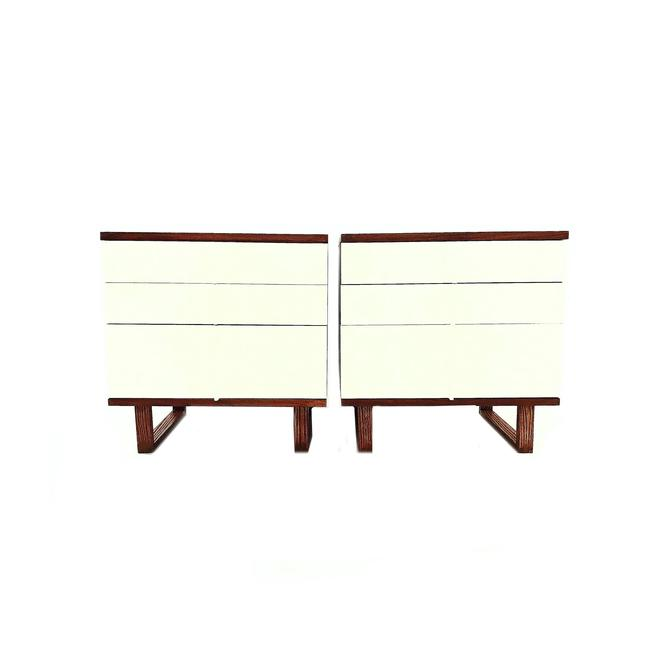 Vintage Mid Century Nightstands In Wood and White by minthome