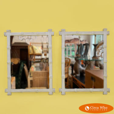 Pair of Small Faux Bamboo White Mirrors