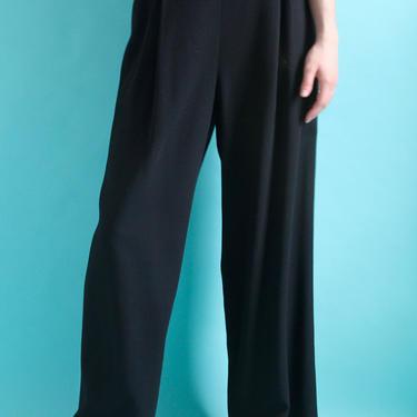 Black 80's High Waist Wool Trousers size 8 Medium by BeggarsBanquet