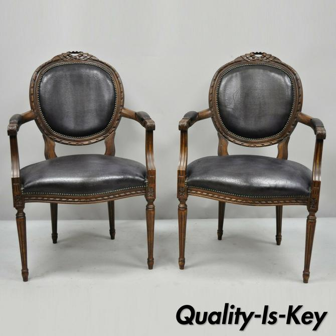 Pair of French Louis XVI Style Italian Bow Carved Fauteuil Fireside Arm Chairs