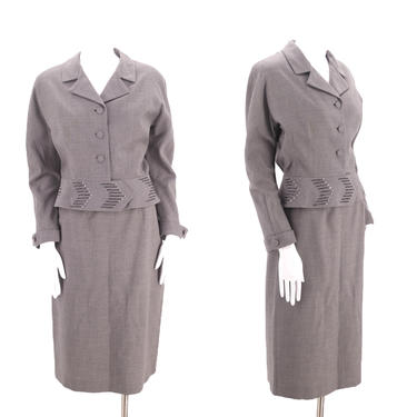 50s gray wool vintage skirt suit sz 8 / early 1950s Nicki Ames slouchy blazer jacket skirt outfit sz M Vertigo by ritualvintage
