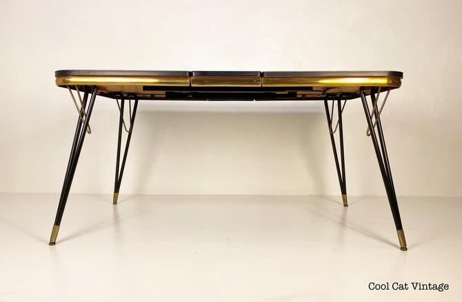 Pink Formica top dining table with a black/brass Metal Frame, Circa 1950s - *Please see notes on shipping before you purchase. by CoolCatVintagePA