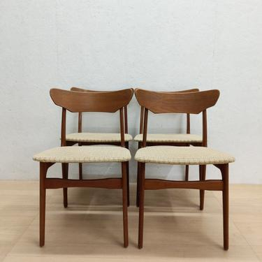 Set of 4 Vintage Danish Modern Teak Dining Chairs by Shionning & Elgaard by FarOutFindsNYC