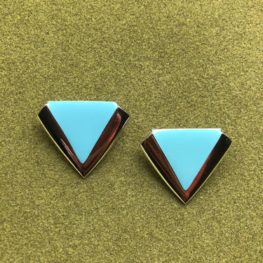 1980s Silver tone and Aqua Blue Triangle Earrings by VeeVintageShop