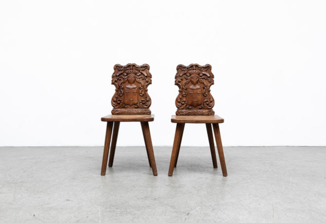 """French Renaissance Style Hand Carved """"Fire Side"""" Chairs"""
