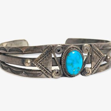 Vintage FRED HARVEY Era Sterling Silver & Turquoise NAVAJO Bracelet / Cuff ~ Squash Blossom ~ Old Pawn ~ Antique ~ Stamped ~ by SparrowsAndWolves