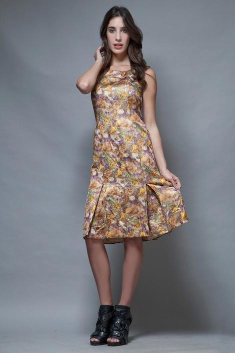 vintage 50s party dress metallic yellow floral box pleated S M small medium by shoprabbithole