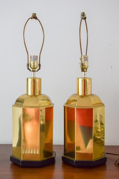 Pair of Vintage Brass Octagon Lamps by CapitolVintageCharm