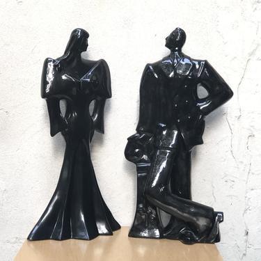 1980's Neo Deco Black Ceramic Man & Woman Table Sculptures by ilikemikes