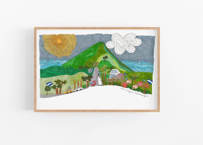 Managua Nicaragua Art Print Home decor ready to Frame Wall Art by VioletredStudio