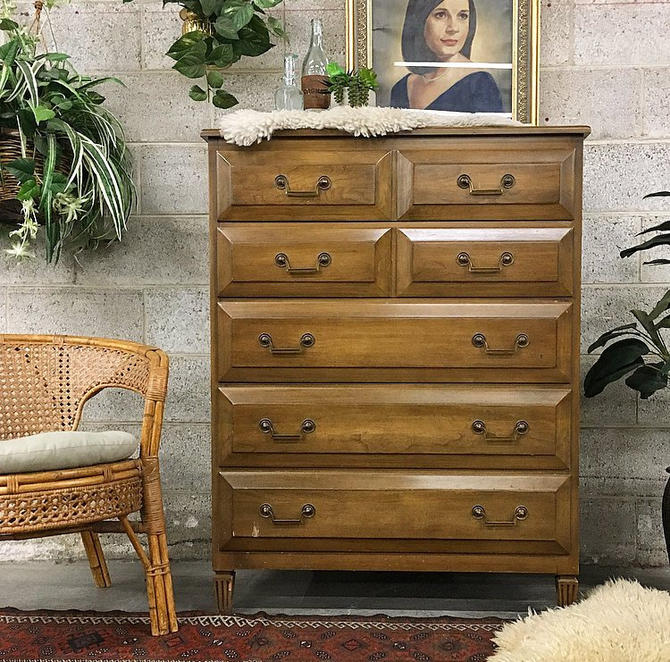 LOCAL PICKUP ONLY Vintage Bureau Retro 1960s Brown Wood Dresser with 5 Drawers and Metal Hardware by Union National Furniture by RetrospectVintage215