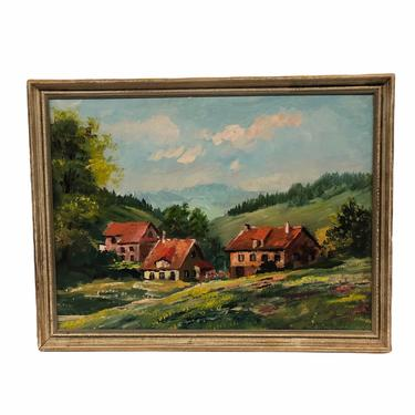 Vintage Mid Century Modern Original Painting House Flower Valley Handmade Retro Mountains Scenic Framed by BigWhaleConsignment