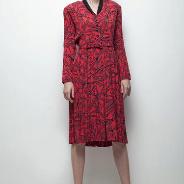 vintage pleated shirtwaist dress red black abstract palm print long sleeve LARGE L by shoprabbithole