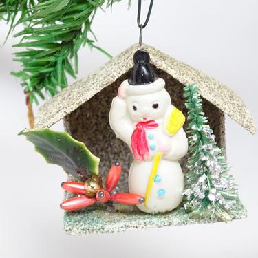 Vintage Snowman Christmas Ornament,  Antique Glitter House, Retro Decor, Faux Tree,  Glass Beads by exploremag
