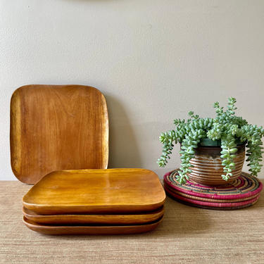 Vintage Wood Plates - Wood Tray - Hand Carved Square Wood Plate - Charcuterie Board - Carved Square Curved Plate by SoulfulVintage