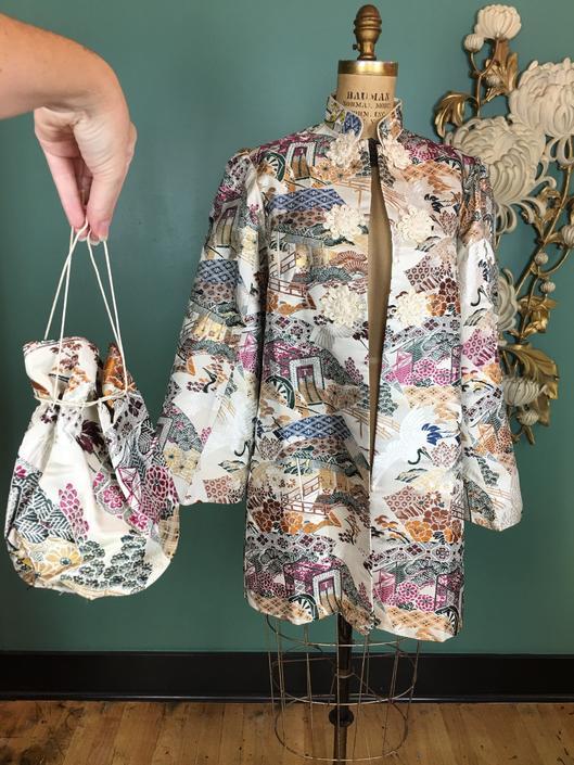 1940s asian jacket, ivory brocade, vintage jacket, puff shoulders, novelty print, crane, size medium, matching purse, mandarin style, frog by BlackLabelVintageWA