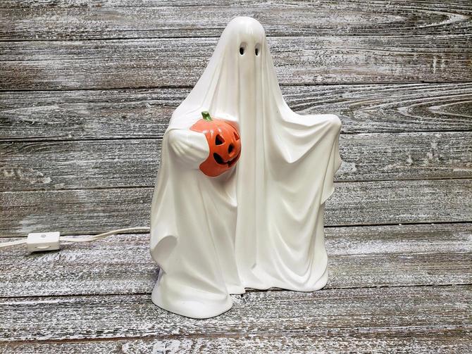 Vintage Halloween Ghost Light Hand Painted Spooky Ceramic Ghost Decor Lighted Ceramic Ghost W Jack O Lantern Pumpkin Vintage Home Decor By
