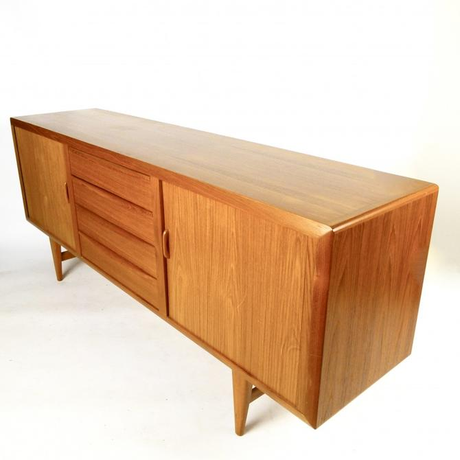 Danish Teak Credenza With Tambour Doors