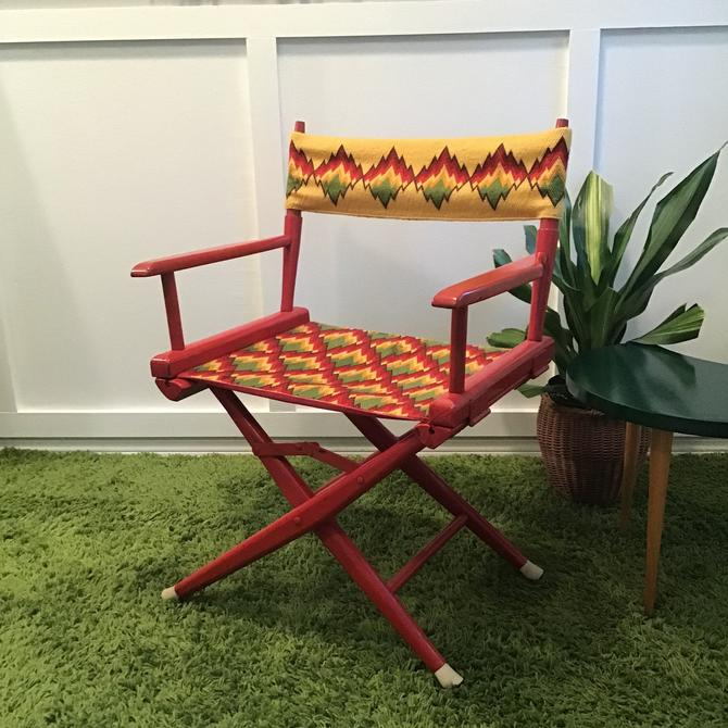 Directors Chair Vintage Mid Century Boho Colorful Wool Needlepoint Hippie Floral MOD Chevron Telescope  Wooden Folding Chair Bright by VintageCoreReStore