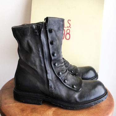 A.S.98 TALIA Boots, Free People, Black Smoke Leather, Steam Punk, Dark Academia style, With Tags UNused Ankle Boots by Boutique369