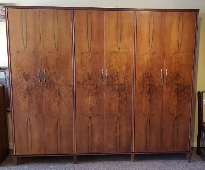 Item #RF1 Full Width Triple Interior Walnut Armoire c.1940s