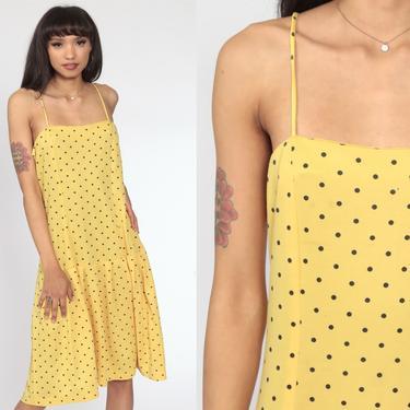 Yellow Summer Dress Polka Dot Midi Dress 70s Sun Drop Waist 80s Boho Vintage Bohemian Sundress Spaghetti Strap Large by ShopExile