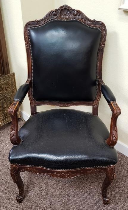 Item #JW3 Early 20th Century Walnut & Leather Arm Chair