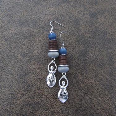 Goddess earrings, African statement earrings, Afrocentric earrings, brown blue tribal earrings, primitive earrings, boho chic, female figure by Afrocasian