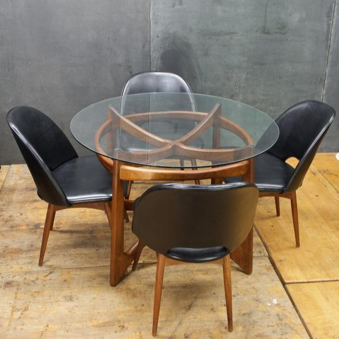 Adrian Pearsall Dining Set Craft Associates Walnut Black Vinyl Vintage Mid-Century Modern Rustic Cabinmodern by BrainWashington