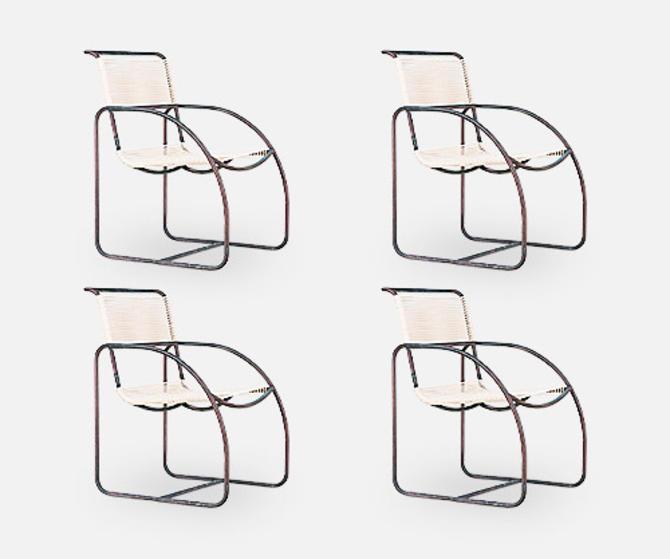 Kipp Stewart Tubular Bronze Armchairs for Terra