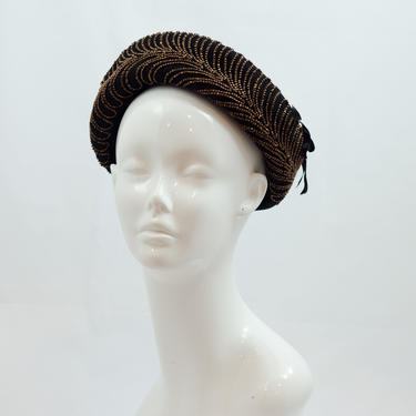 1940s Vintage Hat - Black Breton Style Cap with Incredible Bronze Beading and Side Bows by DomesticatedPinup