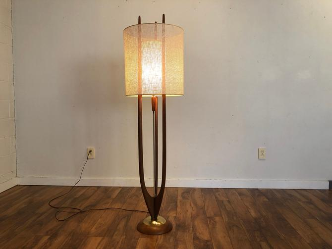 Modeline of California Mid-Century Sculptural Walnut and Brass Floor Lamp With Both Original Shades by Vintagefurnitureetc