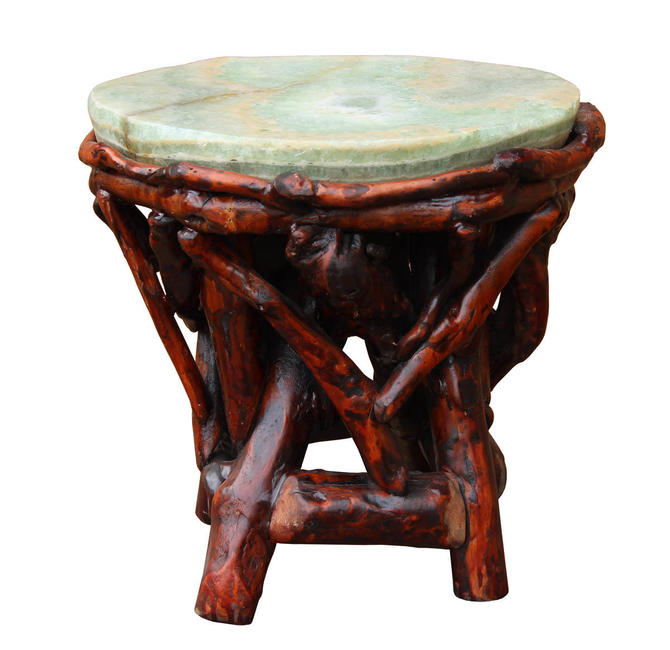 Crystal Jade Stone Top Bamboo Wood Stick Accent Stool Table cs2410E by GoldenLotusAntiques