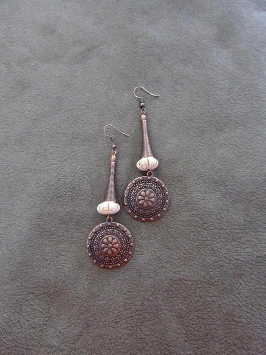 Long copper earrings, unique earrings, bold statement earrings, modern tribal earrings, chic contemporary earrings, exotic medallion earring by Afrocasian