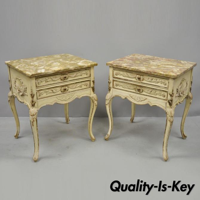 Pair Distress Painted French Louis XV Marble Top Nightstands End Tables by Danby
