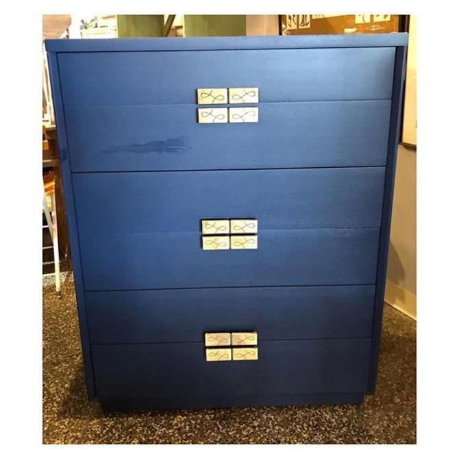 Navy painted chest (6) drawers 34.5 W x 20 x 44 H