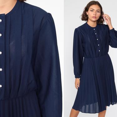 Navy Blue Dress Midi Puff Sleeve Dress 80s Secretary Dress 70s High Waisted PLEATED Semi-Sheer 1980s Vintage Knee Length Slouchy Medium by ShopExile