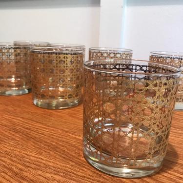 Set Of 7 Gold Caning Pattern Canella 22k Gold Barware Glasses Caning Basket Weave by VintageCoreReStore