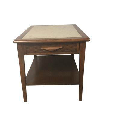 Wood and Travertine End Table