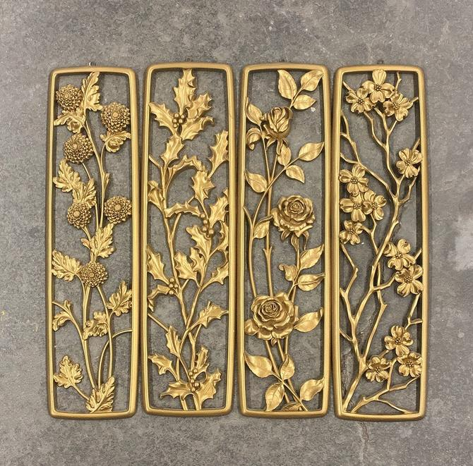 Vintage Floral Wall Panels Retro 1950s Mid Century Modern + Dart Industries + Flower Design + 4 Seasons + Gold Plastic + Home and Wall Decor by RetrospectVintage215